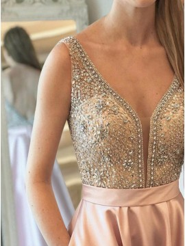 A-Line V-Neck Backless Champagne Satin Prom Dress with Pockets Beading
