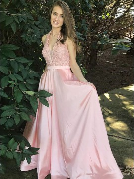A-Line V-Neck Pearl Pink Elegant Prom Dress with Appliques