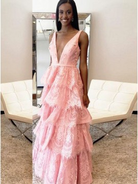 A-Line Deep V-Neck Backless Pink Lace Prom Dress with Appliques