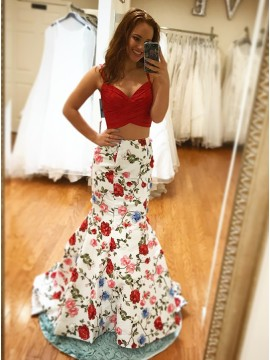 Two Piece Mermaid Spaghetti Straps Floral Red Prom Dress with Appliques