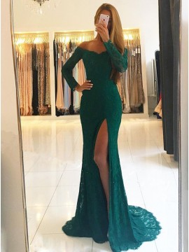 Mermaid Off-the-Shoulder Long Sleeves Split Dark Green Lace Prom Dress