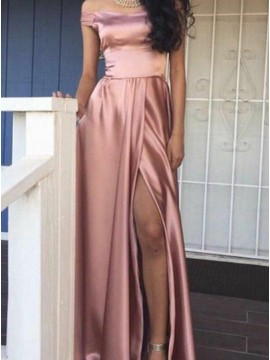 A-Line Off-the-Shoulder Slit Legs Simple Blush Prom Dress