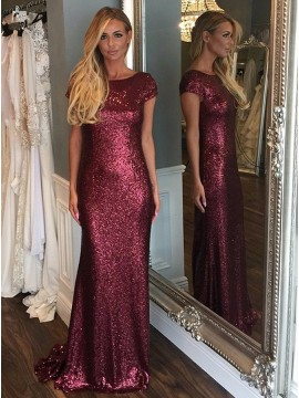 Mermaid Bateau Cap Sleeves Backless Burgundy Sequined Prom Dress