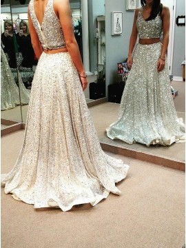 Two Piece V-Neck Sleeveless Sweep Train Sliver Sequined Prom Dress