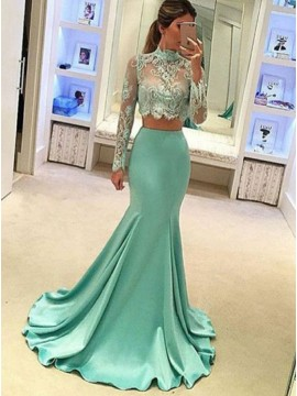 Two Piece Mermaid High Neck Long Sleeves Turquoise Prom Dress with Appliques