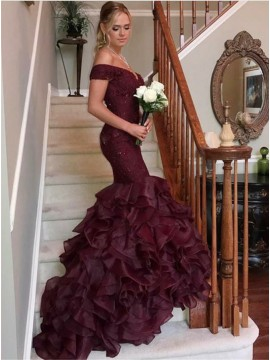 Mermaid Off-the-Shoulder Sweep Train Burgundy Prom Dress with Lace Beading