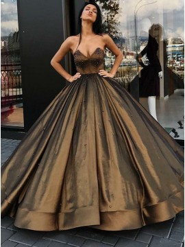 Ball Gown Sweetheart Floor-Length Brown Satin Prom Dress with Beading