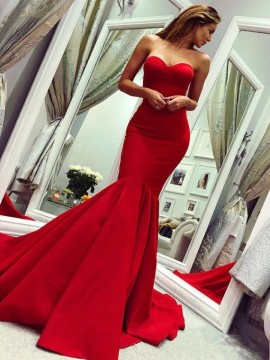 Mermaid Sweetheart Sleeveless Sweep Train Sexy Red Prom Dress