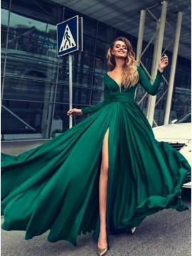 A-Line Long Sleeves Slit Leg Dark Green Pleats Prom Dress