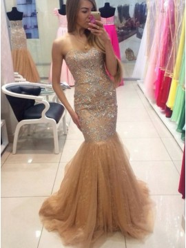 Mermaid Sweetheart Sweep Train Beige Prom Dress Appliques Sequins