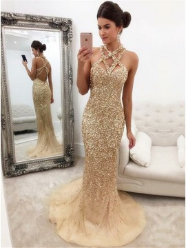Mermaid Straps Sweep Train Open Back Champagne Sequined Prom Dress