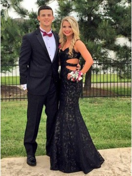 Mermaid V-Neck Floor-Length Black Lace Prom Dress with Cut Out
