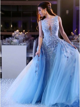 Sparkly A-Line Crew Long Evening Party Dress Blue Prom Dress with Appliques Beading