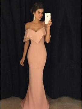Mermaid Off-the-Shoulder Floor-Length Light Pink Ruffles Prom Dress