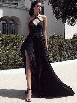 A-Line Halter Keyhole Sweep Train Black Chiffon Simple Prom Dress