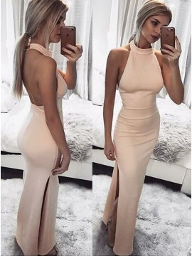 Sheath Halter Backless Floor-Length Pearl Pink Prom Dress with Slit Leg