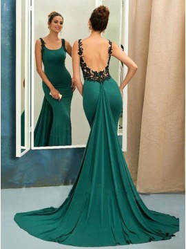 Mermaid Straps Watteau Train Backless Hunter Green Prom Dress with Appliques