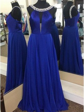 A-Line Round Neck Keyhole Royal Blue Chiffon Prom Dress with Beading