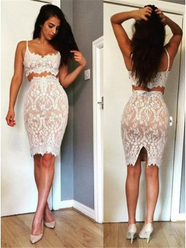 Two Piece Spaghetti Straps Knee-Length White Lace Sexy Cocktail Dress