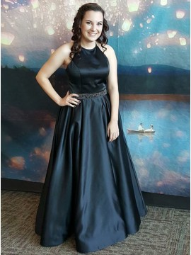 A-Line Round Neck Sleeveless Black Satin Prom Dress with Beading