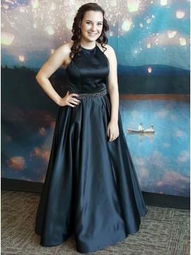 A-Line Round Neck Sleeveless Black Satin Prom Dress with Beading