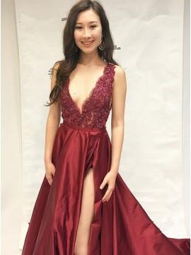 A-Line Deep V-Neck Slit Leg Beaded Burgundy Satin Prom Dress with Appliques