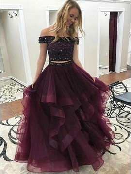 Two Piece Off-the-Shoulder Tiered Beaded Burgundy Tulle Prom Dress