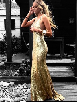 Mermaid Spaghetti Straps Backless Gold Sequined Prom Dress with Appliques