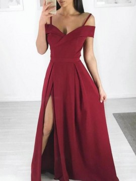 A-Line Spaghetti Straps Simple Burgundy Prom Dress with Split
