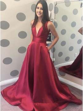 A-Line V-Neck Dark Red Satin Prom Dress with Pockets
