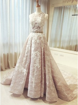 A-Line Round Sweep Train Blush Lace Prom Dress with Sash Pleats