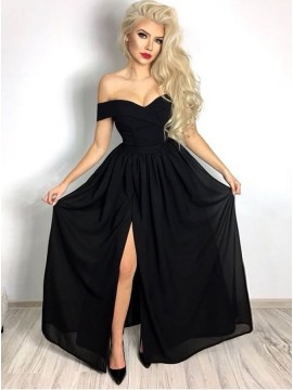A-Line Off-the-Shoulder Black Slit Legs Chiffon Prom Dress