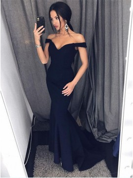 Mermaid Off-the-Shoulder Sweep Train Black Prom Dress