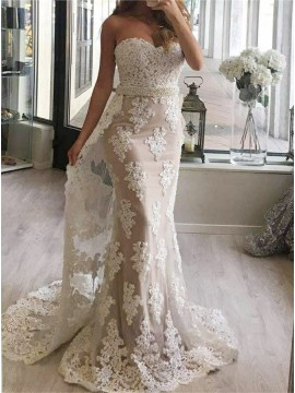 Mermaid Sweetheart Watteau Train White Prom Dress with Appliques Beading