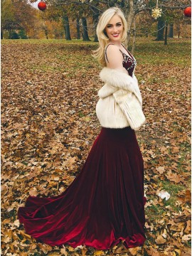 A-Line V-Neck Sweep Train Burgundy Velvet Prom Dress with Beading