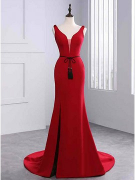 Sheath V-Neck Slit Leg Red Prom Dress with Sashes Beading