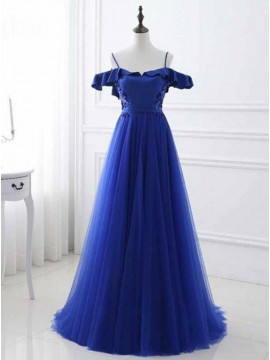 A-Line Off-the-Shoulder Backless Blue Prom Dress with Beading Ruffles