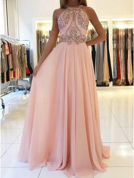 A-Line Spaghetti Straps Keyhole Backless Pink Chiffon Prom Dress with Beading