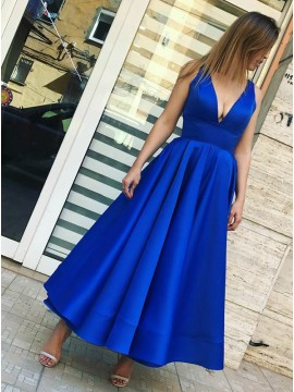 A-Line Sexy V-Neck Royal Blue Satin Prom Dress with Pleats