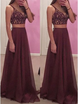 Two Piece V-Neck Sexy Burgundy Chiffon Prom Dress with Appliques