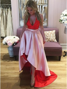 High Low Two Piece V-Neck Sexy Pink and Red Satin Prom Dress
