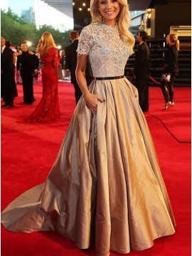 A-Line Short Sleeves Champagne Prom Dress with Lace Belt Pockets