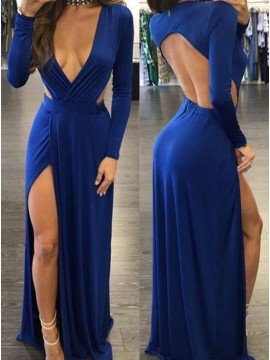 Sheath Deep V-neck Slit Leg Open Back Sexy Royal Blue Prom Dress