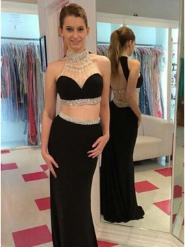 Two Piece Sheath Halter Open Back Beaded Sexy Black Prom Dress