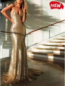Mermaid Spaghetti Straps Backless Gold Sequined Prom Dress