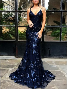 Mermaid Sexy Backless Dark Blue Lace Prom dress with Sequin