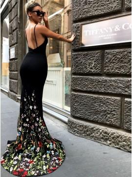 Mermaid Spaghetti Straps Backless Sexy Black Prom Dress