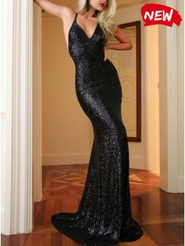 Mermaid Spaghetti Straps Backless Black Sexy Sequined Prom Dress