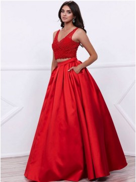 A-Line V-Neck Appliques Beaded Red Prom Dress with Pockets