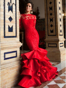 Mermaid Long Sleeves Backless Lace Prom Dress Tiered Red Evening Dress
